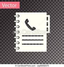 Address Telephone Book White Phone Book Icon Isolated On Transparent Background Address Book Telephone Directory Vector Illustration