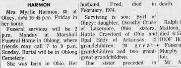 Myrtle Craig Harmon Obit - Newspapers.com
