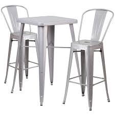 23 75 square silver metal indoor outdoor bar table set with 2 stools with backs
