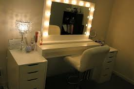 image of ikea vanity mirror with lights for bedroom