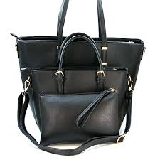 isabelle 3 piece contemporary sophisticated handbag set in black swtrading