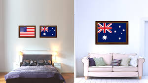 australia country flag canvas print with brown picture frame home decor gifts wall art decoration gift on country style wall art australia with australia country flag home decor office wall art collection