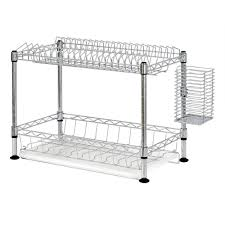 sandusky 2 tier wire dish rack in chrome