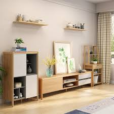 leheju tv cabinet solid wood coffee table tv cabinet set nordic simple small tv cabinet combination log color white tv cabinet