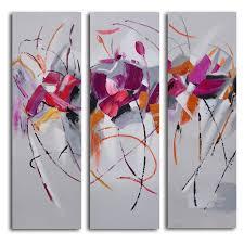 fuschia frolicking flower triptych 3 piece canvas wall art set walmart  on cheap wall art canvas sets with fuschia frolicking flower triptych 3 piece canvas wall art set