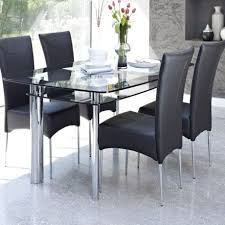 contemporary gl dining table design e with 2 tier to storage e together four stainless steel legs in chrome and black leather dining chair modern