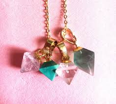2019 petite spike point crystal quartz rhombus shaped pendant charm gold plated healing crystal jewelry natural gemstone charm earring diy from angel gb