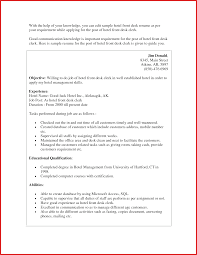 Agreeable Hotel Front Desk Clerk Resume Sample With Mesmerizing
