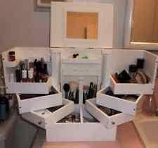 lori greiner deluxe cosmetic makeup case organizer box wood holder standstorage