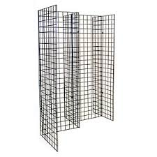 Free Standing Wire Display Racks Freestanding grid unit with five 40'x40' panels black 1