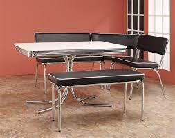 chrome retro dining corner nook set black by coaster 120000 within plan 3 retro dining table 211