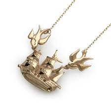 home jewellery gold 9ct gold ship swallows pendant with chain