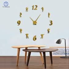 gym diy wall clock modern keep fit building lose weight fitness frameless watch giant 3d mirror