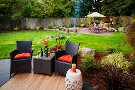 backyard ideas landscape contemporary with stone patio wood fence simple landscaping modern backyard inexpensive ideas
