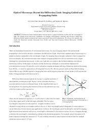 Light Diffraction Limit Pdf Optical Microscopy Beyond The Diffraction Limit