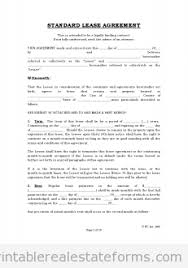 Free Standard Lease Agreement-Standard Rental Agreement
