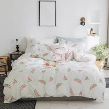 funky pink green and white watermelon print modern chic unique full queen size bedding sets for kids