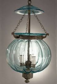 fine aqua blue lobed melon form glass lantern made for the indian market with