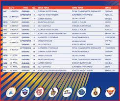 Ipl Schedule Ipl 2019 Schedule Ipl Fixtures 2019 Ipl11 Matchs
