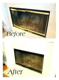 gas fireplace doors removing painting brass door trim did this before we sold black firep painting fireplace
