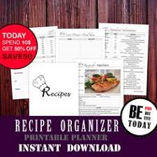 recipe binder organizer printable cooking book recipe page recipe cards printable recipe book a4 a5 letter filofax inserts cookbook