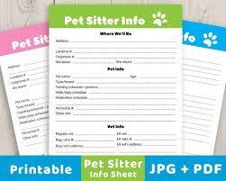 Pet Sitter Info Sheet Printable Pet Info Sheet Pet Sitter Etsy