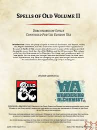 dms guild products notes of the wandering alchemist spell conversion from 3rd edition