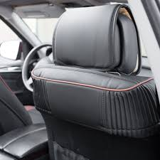 car suv truck pu leather seat cushion covers front bucket seats black brown 3