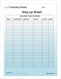 Printable Sign Up Sheet Template Free 30 Images Of Church Volunteer Sign Up Sheet Template