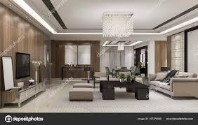 3d Rendering Luxus Und Modernes Wohnzimmer Mit Kronleuchter