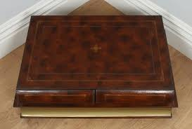vintage english brown leather double book form shaped coffee table circa 1980 yolagray