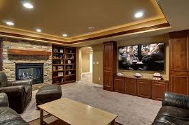 Home Basement Designs Impressive WillowBasementHomeTheaterFireplace Finished Basement Company