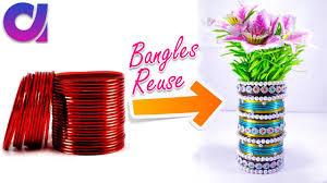How to make flower vase from old waste bangles | Best out of waste | DIY |  Artkala 200