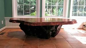 rustic kitchen table made from redwood burl slab