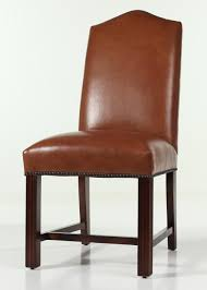 leather camel back pendale dining chair with nailhead trim