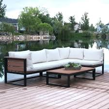 walker edison furniture company 4 piece natural all weather outdoor aluminum conversation set with