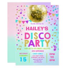 Childrens Disco Invitations Disco Party Invitations Announcements Zazzle Uk
