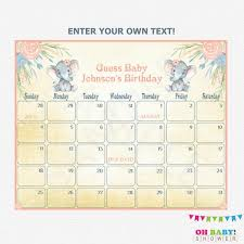 Baby Due Date Calendar Elephant Baby Shower Girl Guess Babys Birthday Printable Baby Calendar Watercolor Editable Pdf Download Elwp