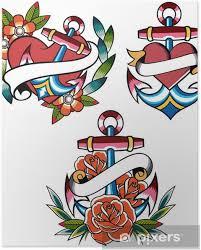 Plakát Kotva Klasické Tetování