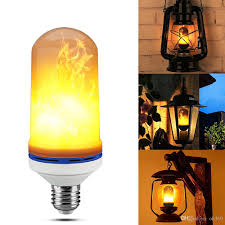 E27 6w Led Flame Effect Fire Light Bulbs Flickering Emulation Decorative Lamps Simulated Vintage Flame Bulb For Club Bar Bedroom Full Spectrum Light