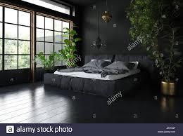 Schlafzimmer Im Schwarzen Stil Mit Dunklen Interior Design Riesige
