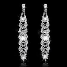 uk crystal drop earrings diamante bridal chandelier rhinestone silver dangle