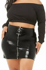 plus size faux patent leather mini skirt