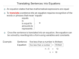 translating sentences into equations