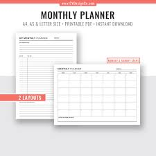2019 2020 Monthly Planner Monthly Calendar Digital Printable Planner Planner Inserts Planner Pages Filofax A5 A4 Letter Size