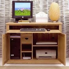 Hidden Printer Cabinet Details About Nara Solid Oak Hidden Home Office Computer Desk