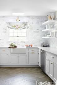 Tile Backsplash Ideas For White Cabinets Mesmerizing Gold Marble Kitchen Backsplash Ideas With White Cabinets