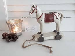 Deko Figur Pferd Creme Weiß Rollen Räder 145cm Weihnachten