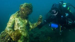 Statue Of The Ninfeo In The Underwater Ancient Roman Town In Baia