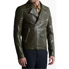 men s olive green leather biker jacket zoom men s